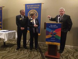 Roger and Pat Cross as Mark Maloney spoke about Pat's commitment to Rotary.